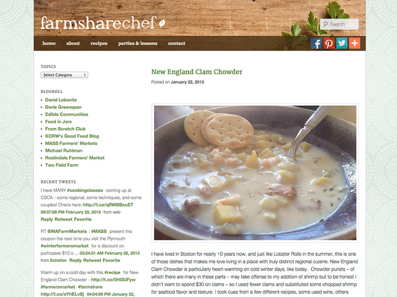 Farmshare Chef Website